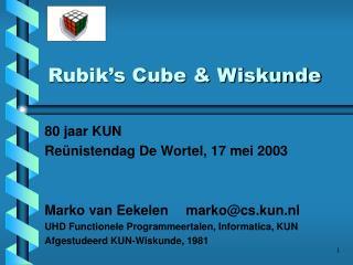 Rubik s Cube  Wiskunde