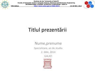 Titlul prezentării