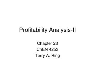 Profitability Analysis-II