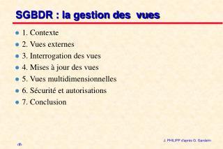 SGBDR : la gestion des  vues