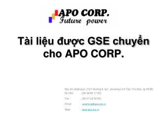 Tài liệu được GSE chuyển cho APO CORP.