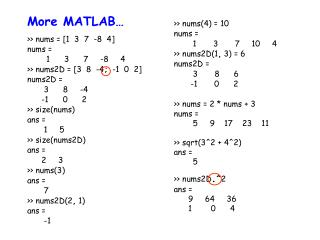 More MATLAB…