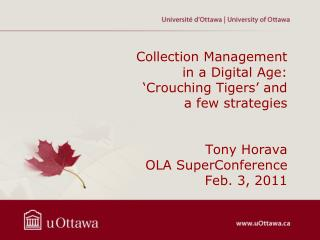 Collection Management in a Digital Age:  Crouching Tigers  and a few strategies   Tony Horava OLA SuperConference Feb. 3