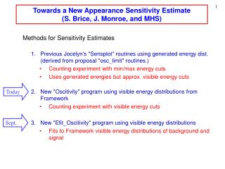 Towards a New Appearance Sensitivity Estimate (S. Brice, J. Monroe, and MHS)