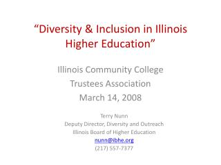 """Diversity & Inclusion in Illinois Higher Education"""