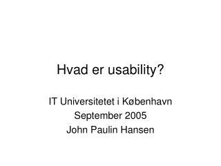 Hvad er usability?