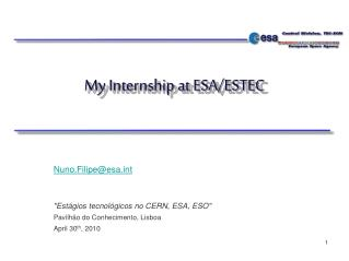 My Internship at ESA/ESTEC