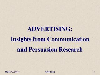 ADVERTISING: Insights from Communication and Persuasion Research