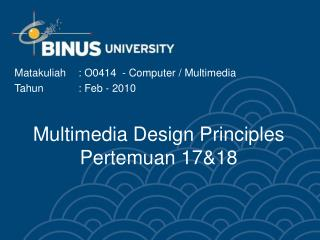 Multimedia Design Principles Pertemuan 17&18