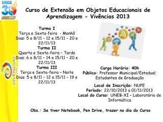 Curso de Extensão em Objetos Educacionais de  Aprendizagem - Vivências 2013
