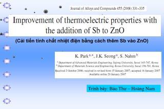 (Cải tiến tính chất nhiệt điện bằng cách thêm Sb vào ZnO)