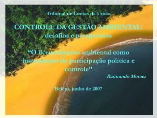Tribunal de Contas da União CONTROLE DA GESTÃO AMBIENTAL: desafios e perspectivas