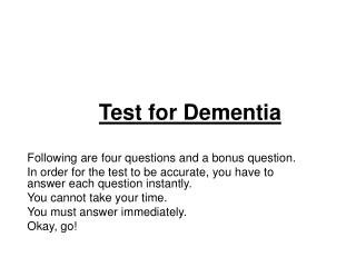 Test for Dementia