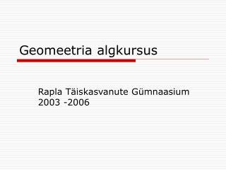 Geomeetria algkursus