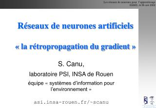 R seaux de neurones artificiels    la r tropropagation du gradient