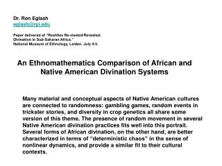 An Ethnomathematics Comparison of African and Native American Divination Systems