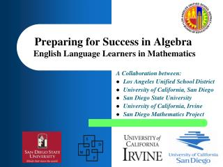 Preparing for Success in Algebra English Language Learners in Mathematics