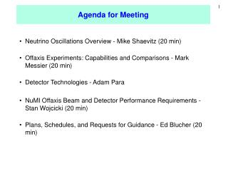 Agenda for Meeting