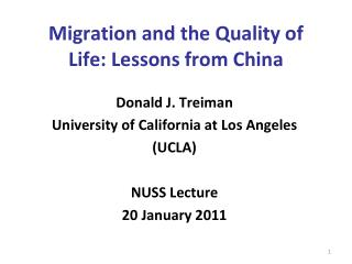 Migration and the Quality of Life: Lessons from China