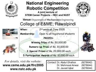 Venue: Department of  Mechatronics  Engineering