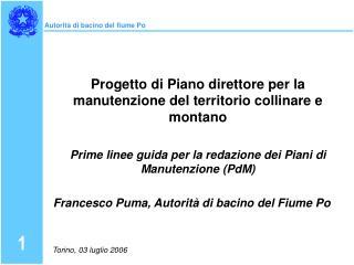 Progetto di Piano direttore per la manutenzione del territorio collinare e montano