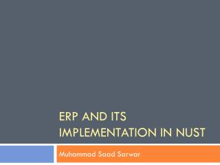 ERP and its implementation in NUST