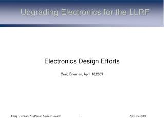Upgrading Electronics for the LLRF