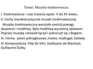 Temat: Muzyka średniowiecza.
