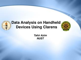 Data Analysis on Handheld  Devices Using Clarens