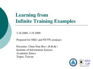 Learning from  Infinite Training Examples