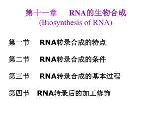 第十一章       RNA 的生物合成  (Biosynthesis of RNA)