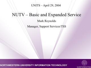 UNITS – April 29, 2004