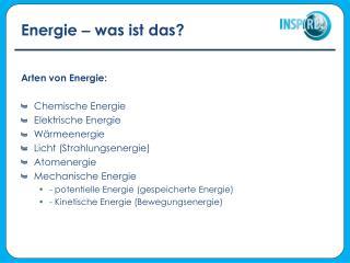 Energie  –  was ist das?