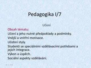 Pedagogika I/7
