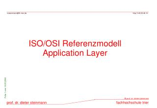 ISO/OSI Referenzmodell Application Layer