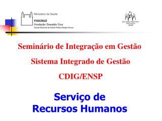 Seminário de Integração em Gestão   Sistema Integrado de Gestão  CDIG/ENSP