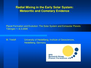 Radial Mixing in the Early Solar System:  Meteoritic and Cometary Evidence