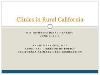 Clinics in Rural California