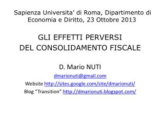 Sapienza Universita' di Roma, Dipartimento di Economia e Diritto, 23 Ottobre 2013
