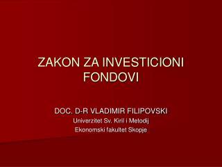 ZAKON ZA INVESTICIONI FONDOVI