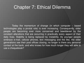 Chapter 7: Ethical Dilemma