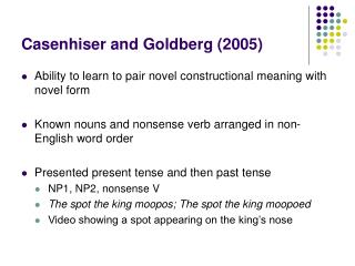 Casenhiser and Goldberg (2005)