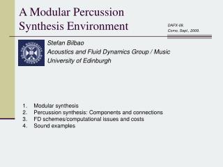 A Modular Percussion Synthesis Environment