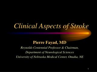 Clinical Aspects of Stroke
