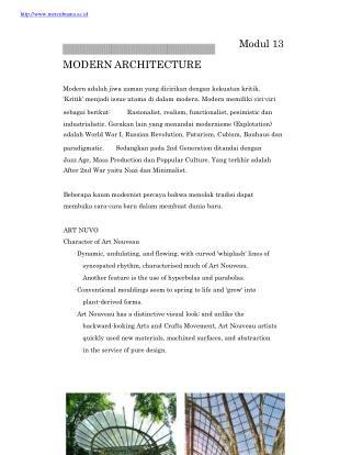 mercubuana.ac.id Modul 13 MODERN ARCHITECTURE