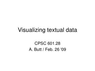 Visualizing textual data
