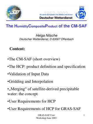 The H umidity C omposite P roduct  of the CM-SAF Helga Nitsche