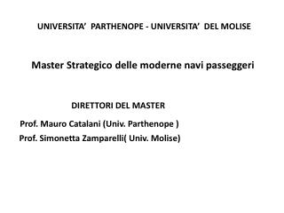 UNIVERSITA�  PARTHENOPE - UNIVERSITA�  DEL MOLISE