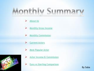 About  Us Monthly Gross  Income Monthly  Commission Current  Actors Most Popular  Actor