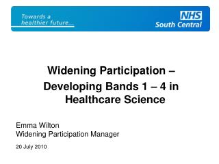 Widening Participation –  Developing Bands 1 – 4 in Healthcare Science